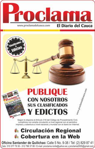 Clasificados y Edictos Proclama del Cauca - Banner 3D