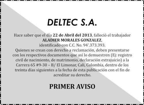 EDICTO DELTEC S.A.