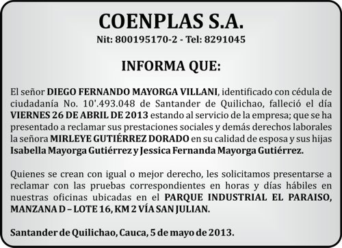 Edicto Coenplas S.A.
