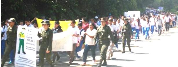 Comunidad de Caldono marchó por la liberación de niño de 14 años