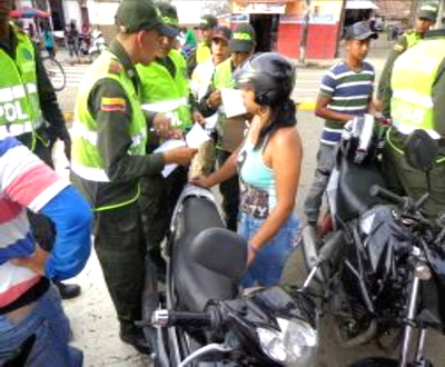 Control de motocicletas en Santander de Quilichao