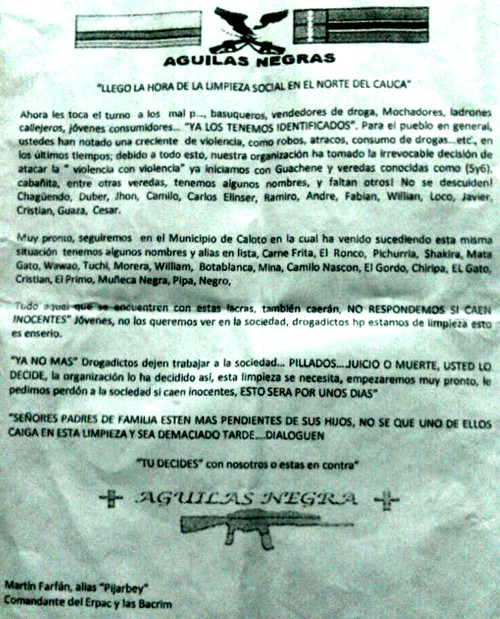 Panfleto que circula en Caloto y Guachené - Cauca