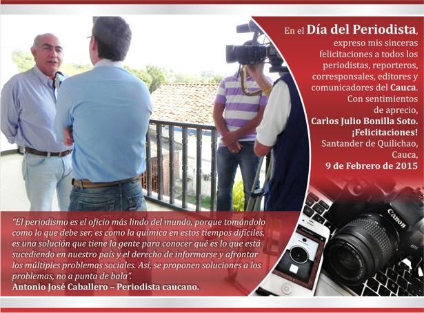 Tarjeta Día del Periodista - Carlos Julio Bonilla Soto