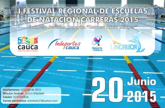 I Festival Regional de Escuelas de Natación Carreras 2015 en Popayán