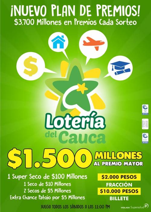 Nuevo Plan de Premios de la Lotería del Cauca