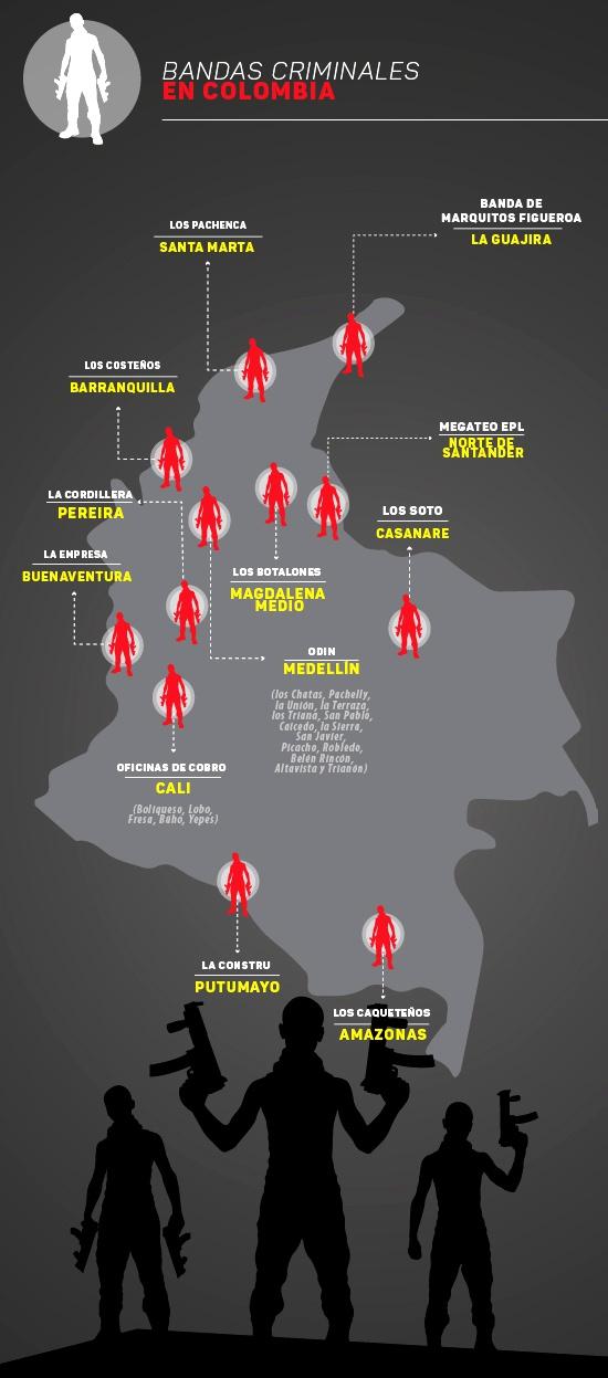 Bandas criminales en Colombia - Infografía - kienyke