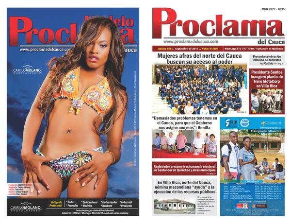 Edición No. 356 - Proclama del Cauca - Septiembre de 2015 - Portada