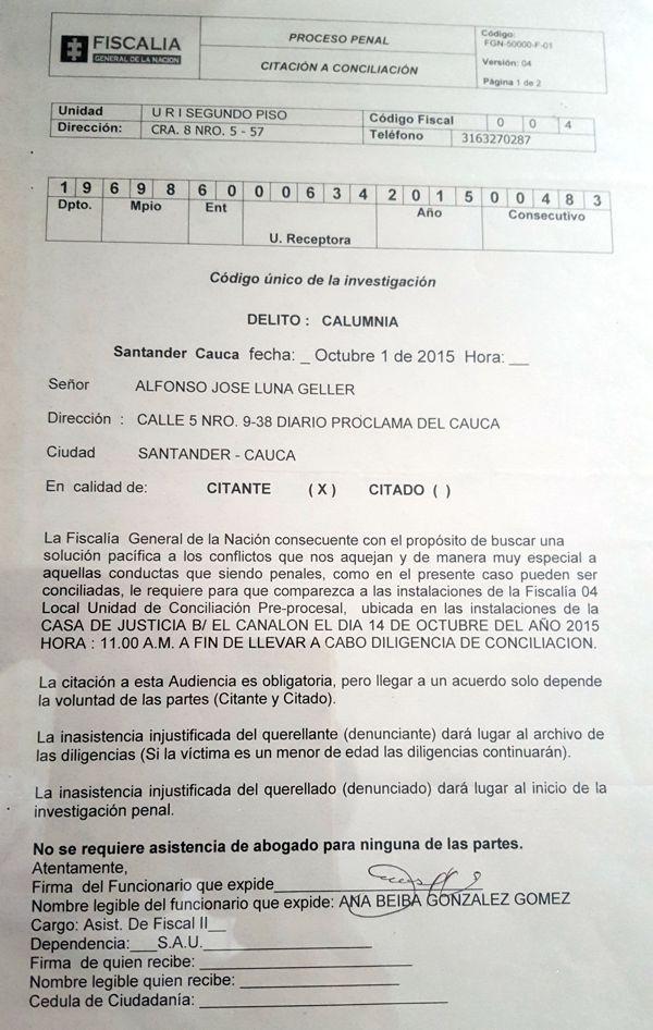 Denuncia por Calumnia