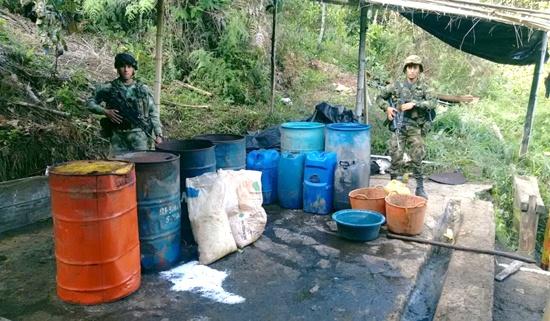 Destruidos dos laboratorios para el procesamiento de coca en el Cauca