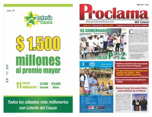 Edición No. 361 - Proclama del Cauca - Febrero 2016