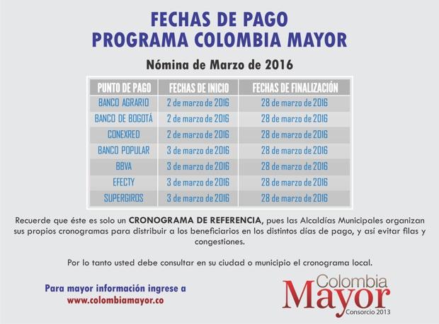 Colombia Mayor en el Cauca - Fechas de Pago