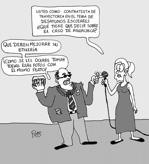Caricatura del día - Contratistas y desayunos escolares - Pete