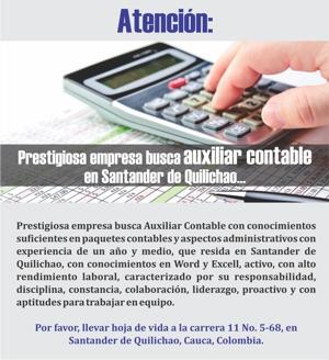 Clasificado - Se necesita Auxiliar Contable en Santander de Quilichao