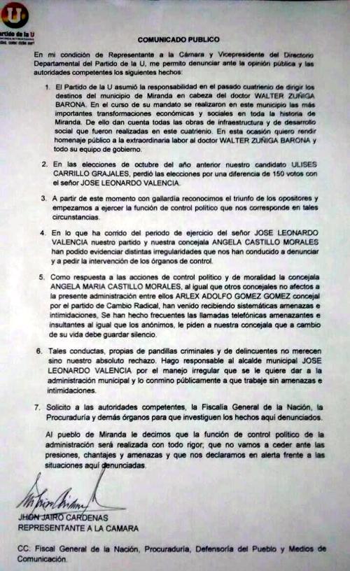 Comunicado john Jairo Cardenas