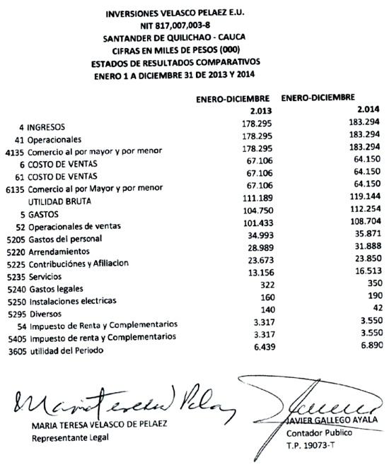 Inversiones Velasco Peláez - Estado de Resultados