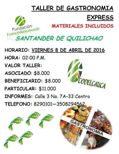 Taller de Gastronomía Express - Fundación Codelcauca - Santander de Quilichao