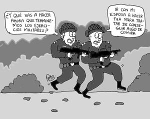 Caricatura del día - Haga la fila, para conseguir alimentos en Venezuela - Pete1