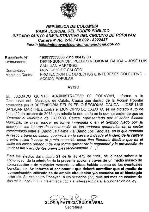 Edicto - Acción Popular Defensoría del Pueblo contra el Municipio de Caloto
