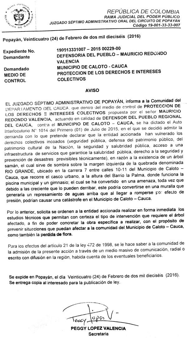 Edicto Defensoría del Pueblo - Municipio de Caloto - Juzgado de Popayán