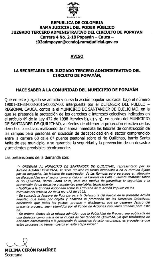 Edicto - Defensoría del Pueblo - Santander de Quilichao