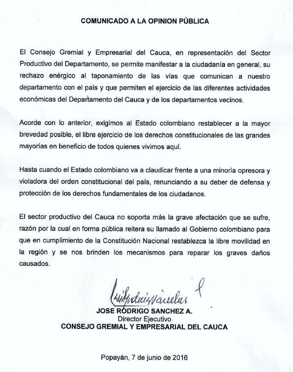 Consejo Gremial y empresarial del Cauca