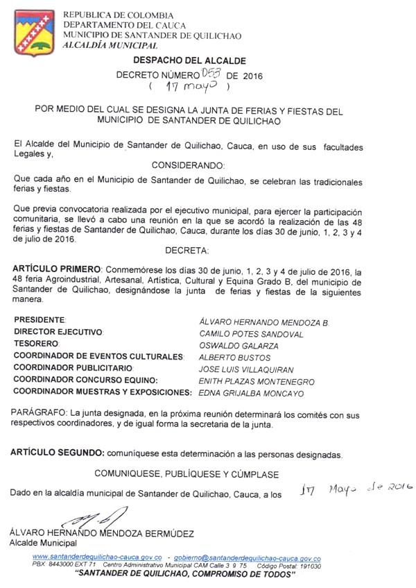 Decreto No. 053 de 2016 - Junta de Ferias y Fiestas de Santander de Quilichao