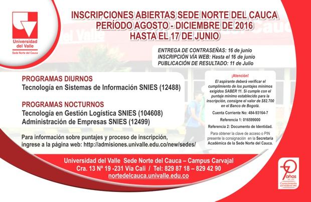 UNIVERSIDAD DEL VALLE SEDE NORTE DEL CAUCA - INSCRIPCIONES ABIERTAS 2016