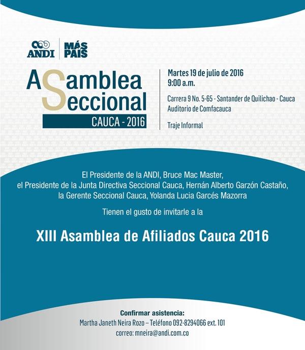 Invitación Asambleas Seccionales Cauca 2016