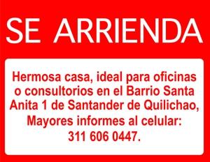 SE ARRIENDA CASA EN SANTA ANITA 1 EN SANTANDER DE QUILICHAO