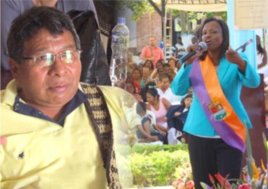 Tobías Escué, alcalde de Toribío, y María Liliana Ararat, alcaldesa de Caloto