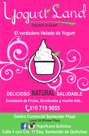 Yogurt Land - Helado de Yogurt - Santander de Quilichao