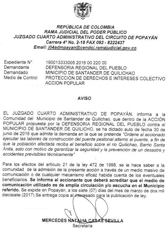 Protección de los derechos e intereses colectivos - Admisión de Denuncia contra el Municipio de Santander de Quilichao