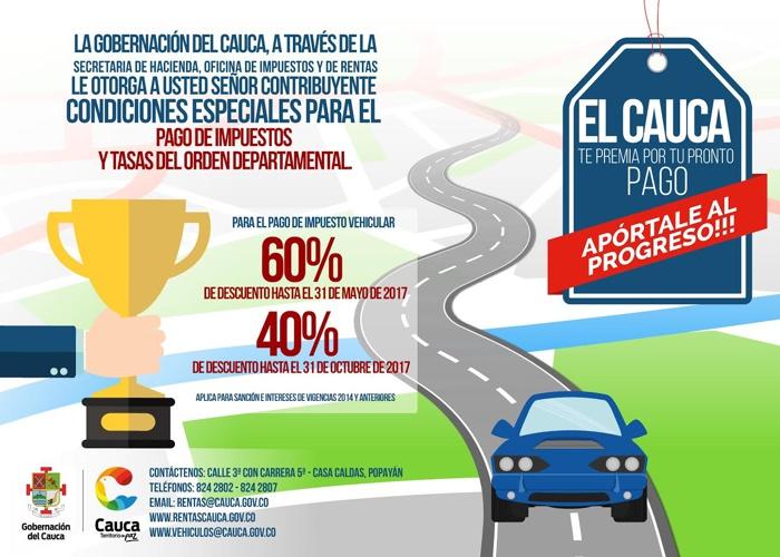 Descuentos para el pago de impuestos en el Cauca - 2017 - Secretaría de Hacienda - Oficina de Impuestos y Rentas