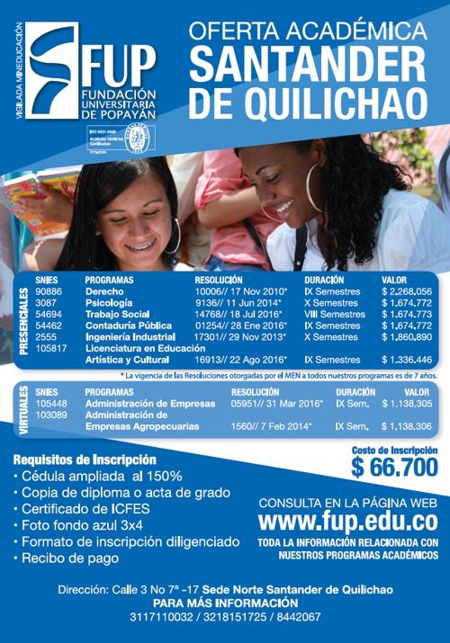 Fundación Universitaria de Popayán - Oferta Académica - Santander de Quilichao