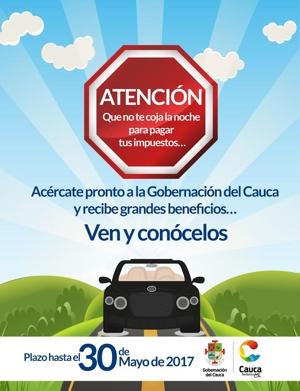 Grandes Descuentos para el Pago de Impuestos en el Cauca - 2017 - Secretaría de Hacienda - Oficina de Impuestos y Rentas