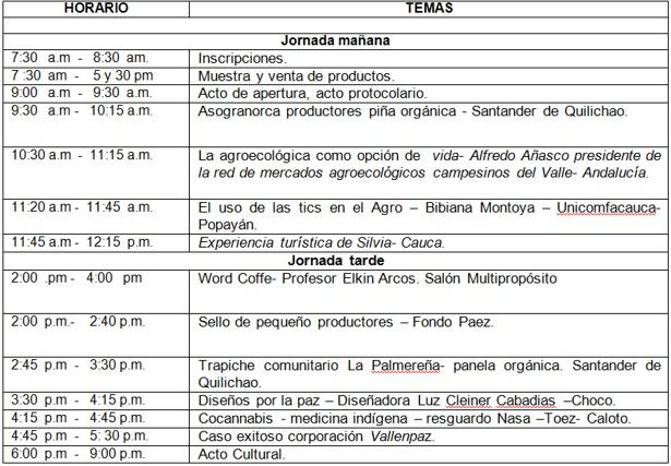 Agenda III Encuentro de Saberes Culturales y del Agro del Cauca