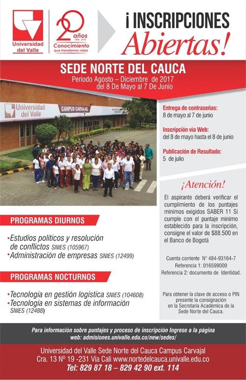 Inscripciones abiertas en la Universidad del Valle - Sede Norte del Cauca