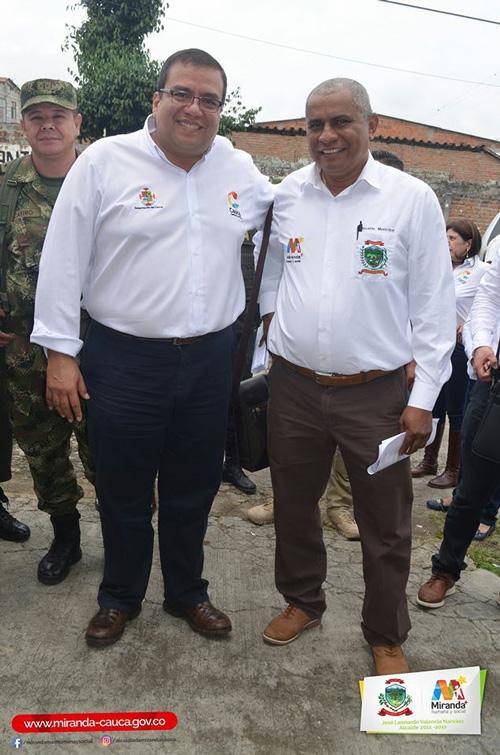 Óscar Rodrigo Campo Hurtado, gobernador del Cauca y Leonardo Valencia, alcalde de Miranda