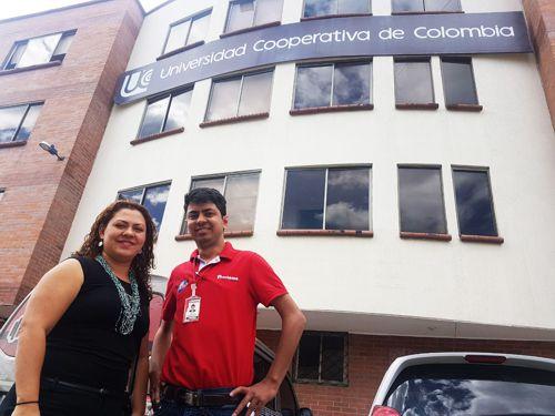 Lina Marcela Zapata y Fabrit Cruz, directora de UCC y director de Proclama en Popayán