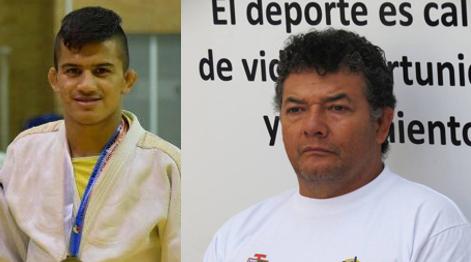 judoca caucano, Jhonatan Paniagua y el entrenador, Alejandro Solano