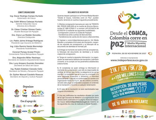 El Cauca corre la media Maratón por la Paz