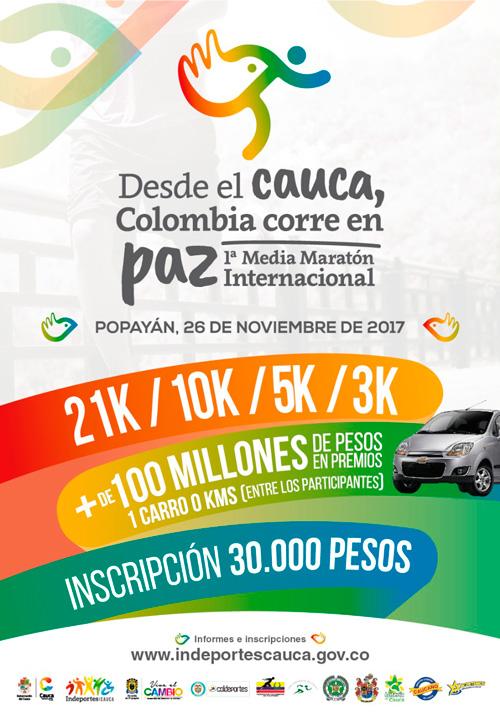 El Cauca invita a Colombia a correr la media Maratón por la Paz