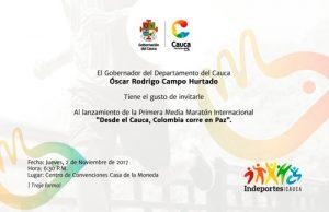 Gobernador del Cauca presenta en Popayán la Maratón por la Paz