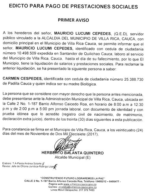 Atención al siguiente edicto en Villa Rica