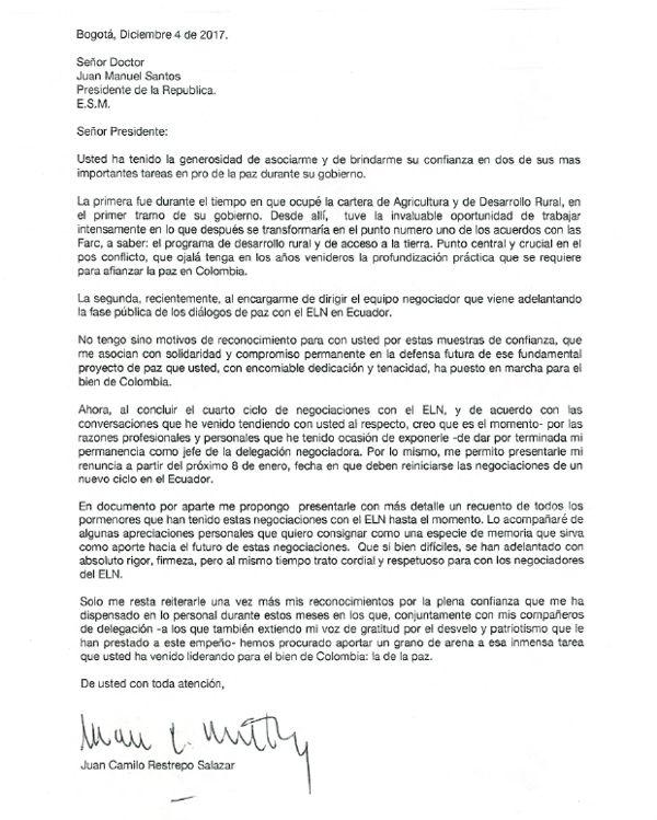 Juan Camilo Restrepo renunció como negociador con el Eln