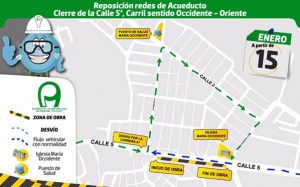 Cierre vial por reposición de redes de acueducto en Popayán
