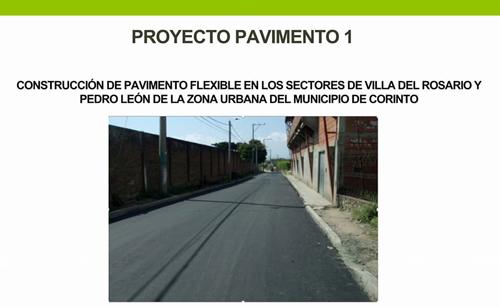 Se aprobaron 3 importantes proyectos de pavimentación para el municipio de Corinto