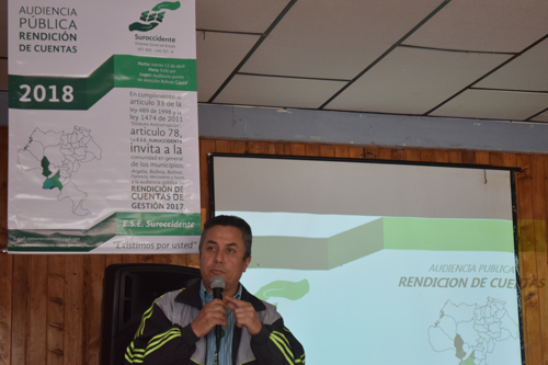 Liber Aldemar Muñoz, coordinador del hospital de Bolívar de la E.S.E Suroccidente