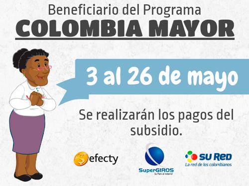 Del 3 al 26 de mayo se pagará Colombia Mayor