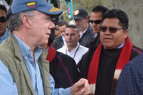 """""""No puedo permitir que al pueblo misak lo desplacen a la fuerza"""", dijo el presidente Santos"""
